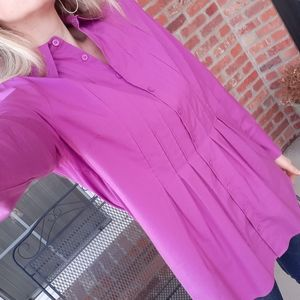 Soft Surroundings magenta button up tunic blouse